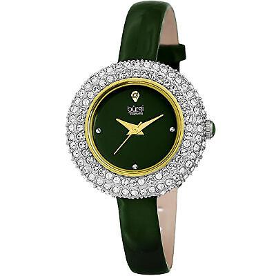 Women's Burgi BUR195GN Swarovski Crystal & Diamond Green Satin Leather Watch