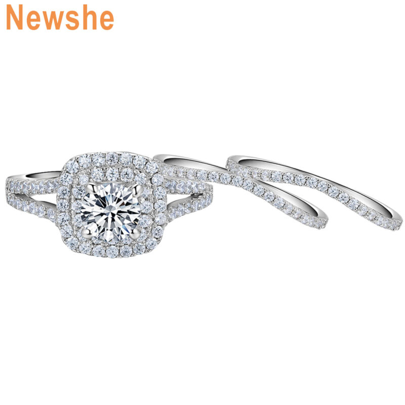 Newshe 3pcs Wedding Rings For Women Engagement Set Blue Sterling Silver Aaaa Cz