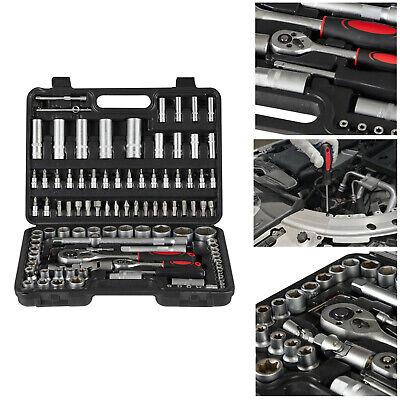 AREBOS Juego de llaves de tubo Caja de herramientas de coche 108...