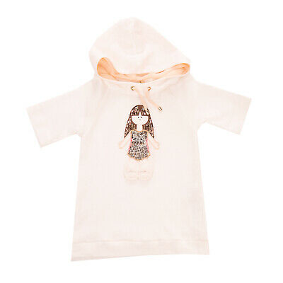 RRP €125 ELISABETTA FRANCHI Sweat Dress Size XS / 4Y Rabbit Fur Trim Hooded