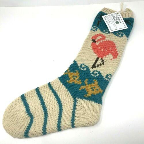 Christmas Cove Designs Handmade 100% Wool  Stocking NEW Pink Flamingo