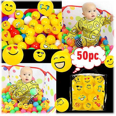 Emoji Pit Ball Set 50Pcs Crush Proof Plastic Stress Relief Baby Kid Child Party