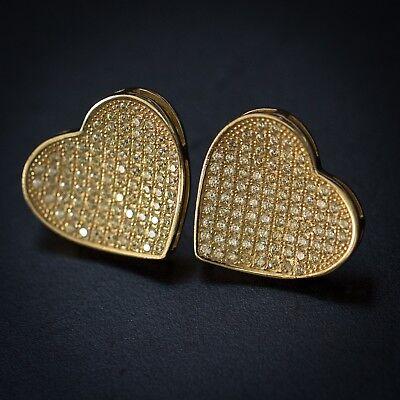 Large Women's Ladies 18K Gold Diamond Heart Stud Earrings ()