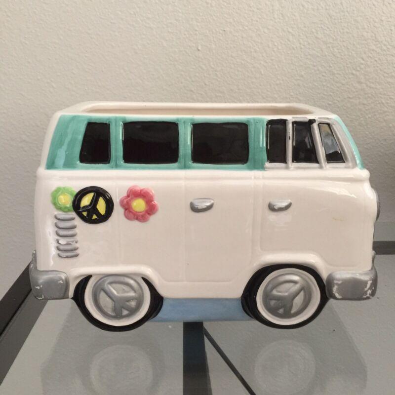 Lotus Brand 1997 VW Volkswagon Hippie Van Cookie Jar~Planter Peace Sign HTF