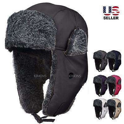 Earflap Trapper Bomber Aviator Russian Trooper Fur Winter Ski Hat Mens Womens Winter Ski Earflap