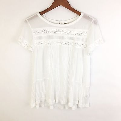 Anthropologie Womens Size M Top Meadow Rue White Knit Eyelet Short Sleeve Blouse