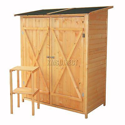 FoxHunter Patio Outdoor Garden Tool Shed Wood Tool Storage Log Chest Double Door