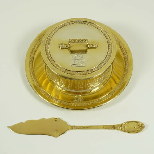 Antique French Sterling Silver Gold Vermeil Cheese Butter Serving Dish & Knife