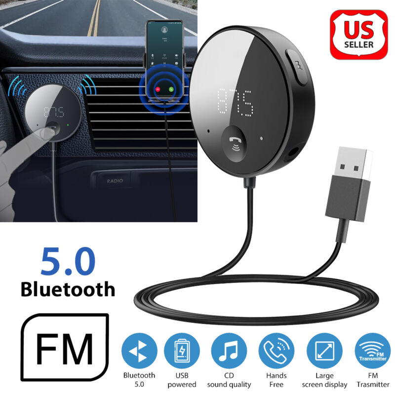 Bluetooth Wireless Car FM Transmitter AUX Stereo Receiver Adapter Mp3 Player USB