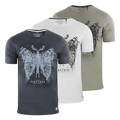 Mens T Shirt Firetrap Sarepta Graphic Cotton Crew Neck Short Sleeve Tee