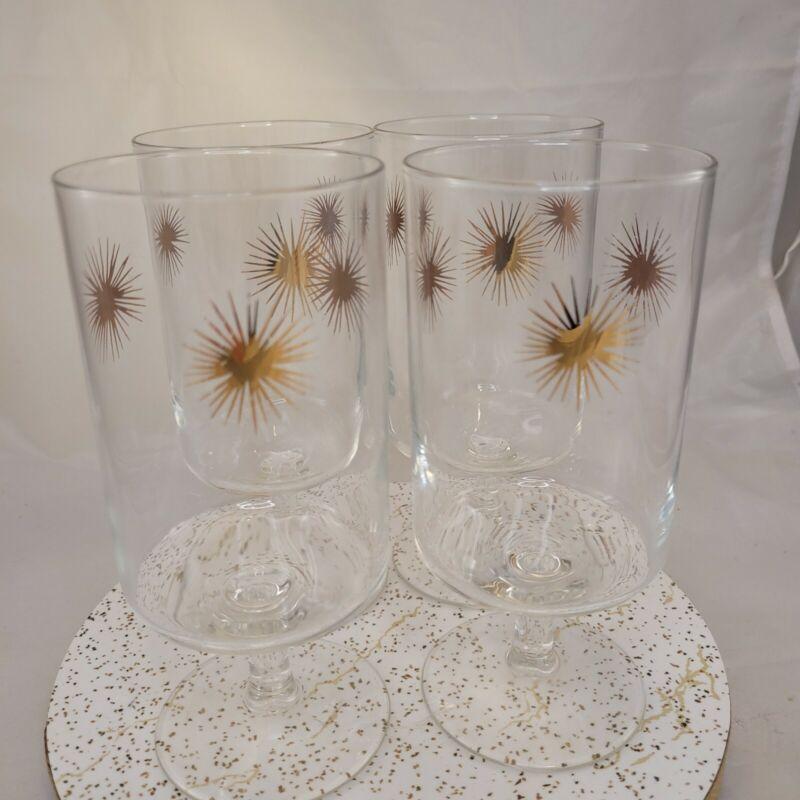 Vintage Mid Century Starburst Atomic Set of 4 Water Goblet Drinking Glasses