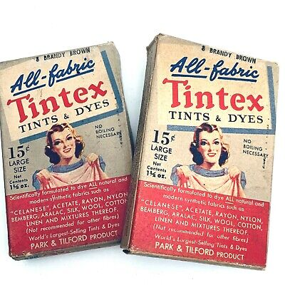 2 Vintage TINTEX All Fabric Tint and Dye BRANDY BROWN Color 1 1/2 ounce size