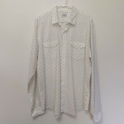 Express Men's XL Dress Shirt Linen Cotton Button Down White Blue Dot Pattern EUC Cotton Dotted Pattern Dress Shirt