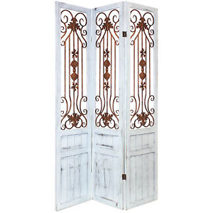 HARTLEYS 3 PANEL FRENCH RUSTIC/VINTAGE ROOM DIVIDER SEPARATOR/PRIVACY SCREEN