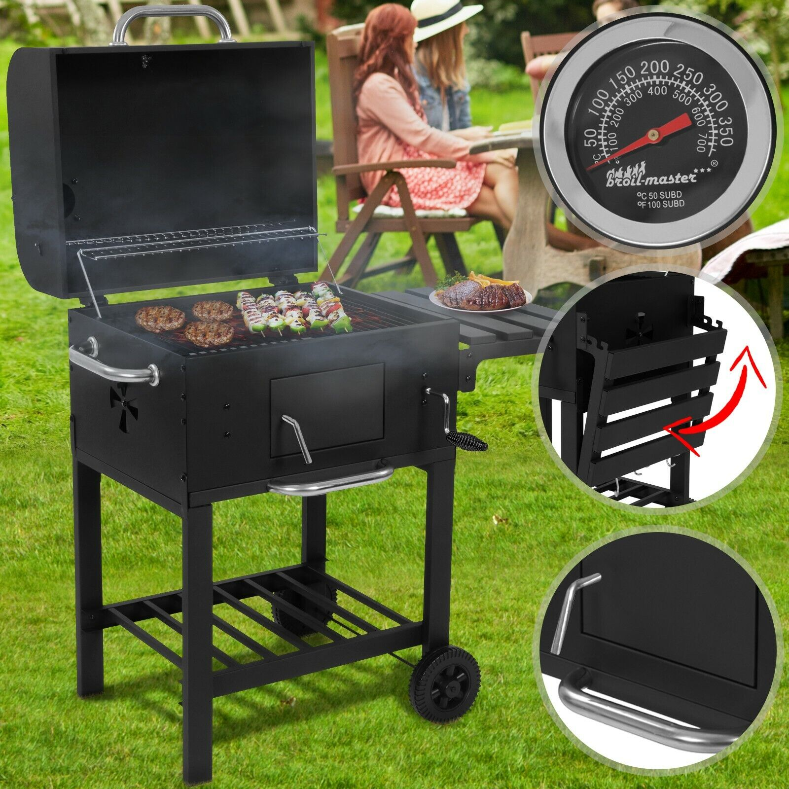 Holzkohlegrill XL Grillwagen BBQ Smoker Holzkohle Barbecue Grill Grillkamin
