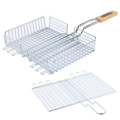 32cm Large BBQ Barbecue Grill Shaker Basket Grilling Cooking Easy Grip Handle