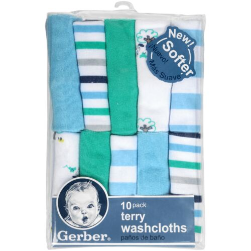 Gerber Baby Boys 10 Pack Terry Washcloths NEW Adorable Puppies, Stripes, Solids