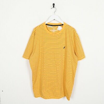Vintage NAUTICA Small Logo Striped T Shirt Tee Yellow | 3XL