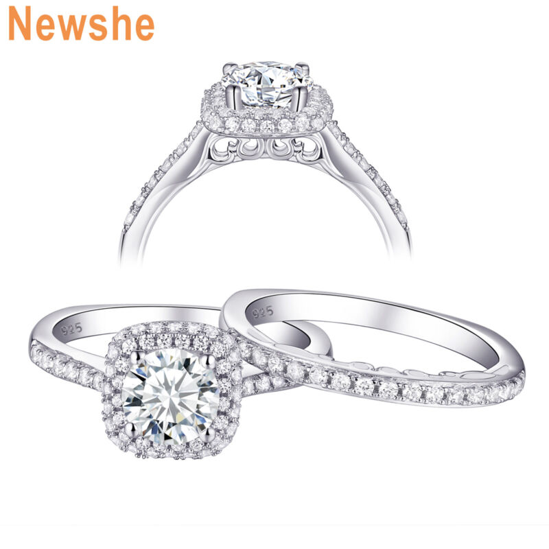 Newshe Wedding Engagement Ring Set 1.6ct 925 Sterling Silver Halo Round Aaa Cz