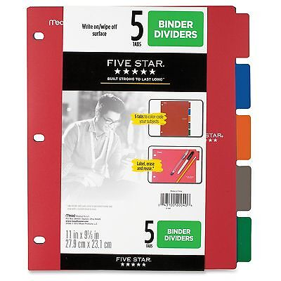 Five Star Multicolor 5-tab Binder Dividers - 5 X Dividers - 9.13 Mea20040