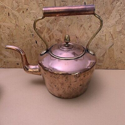 Vintage Large Brass & Copper Plate Kettle / Teapot - 31cm tall