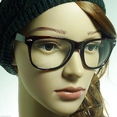 RETRO Unisex Men Women Nerd Geek Oversized Large Frame Clear Lens Eye (Wayfarer Nerd Glasses)