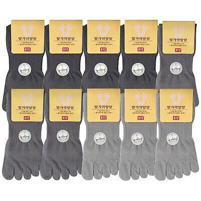 BYC Men's Toe Socks 10Pairs Cotton Crew Long Length Five Finger Made In Korea