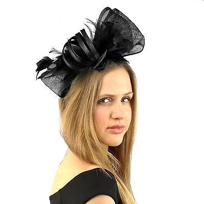 Handmade Feathers Ribbon Bow Headband Fascinator Millinery Cocktail Hat Black
