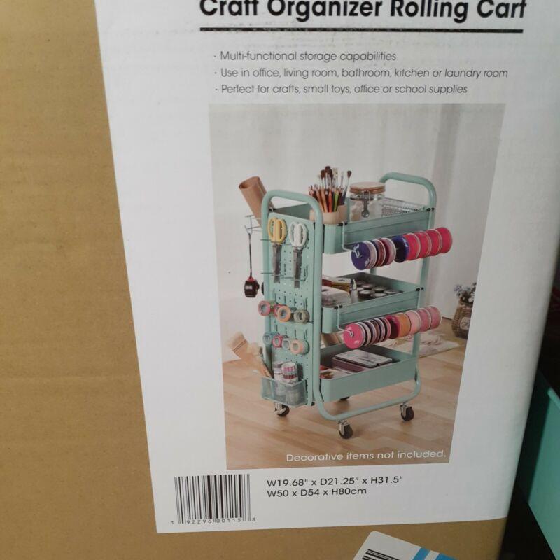 ***Brand New*** Aqua Metal Rolling Craft Cart Organizer Storage