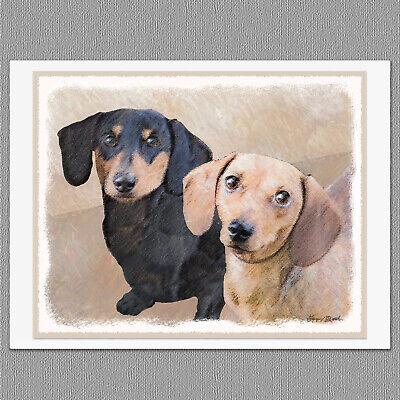 Black And Tan Dachshund (6 Dachshund Smooth Dog Red Black and Tan Blank Art Note Greeting)