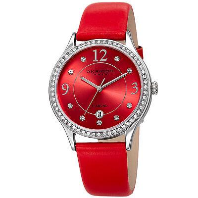 Akribos XXIV Women's AK1011RD Date Diamond & Swarovski Silver Red Leather Watch