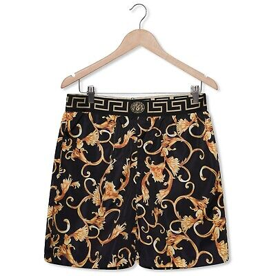 Versac Designer Baroque Iconic Luxe Long-Length Men's Swim Shorts, Black Gold