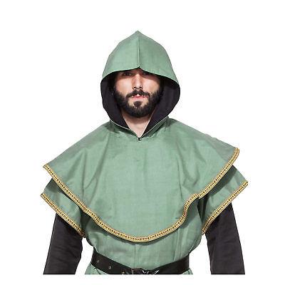 Men's Adult Medieval Huntsman Hood Costume Accessory Green Ninja Assassin