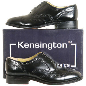 Mens-Leather-Brogues-Shoes-Black-Size-6-7-8-9-10-11-12