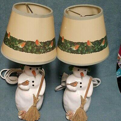 Vtg Rare Small Hallmark Marjolein Bastin Snowman Rabbits Hollyberrie Birds Lamps