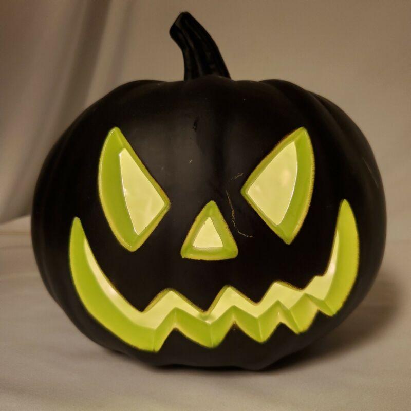 Black & Green Lighted Halloween Pumpkin Plastic Blow Mold Jack Lantern