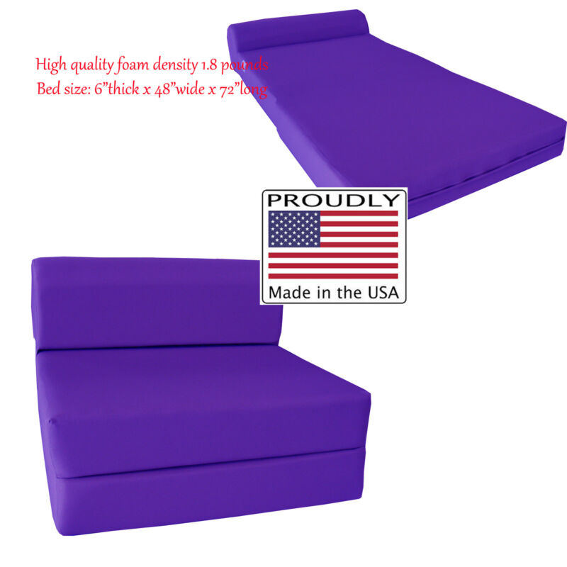 Full 6 x 48 x 72 Purple Sleeper Chair Folding Foam Bed, Density Foam 1.8 lbs.