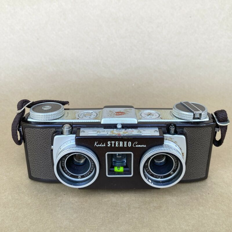KODAK STEREO CAMERA, 3D FILM CAMERA W/ ANASTON 35MM F3.5 LENS, BROWN, VINTAGE