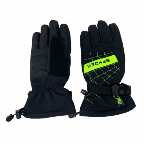 Spyder Overweb Ski Gloves Boys Youth Size Large Black Water Resistant Insulated