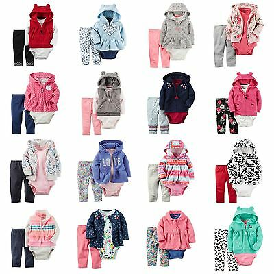 ASSORTED NWT Carters Baby Girl 3-pc Sets Outfits Fleece Hoodie Vest Jacket NB-24