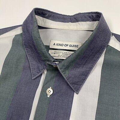 Men's A Kind Of Guise (M) Striped Lightweight Cotton Button Front Shirt