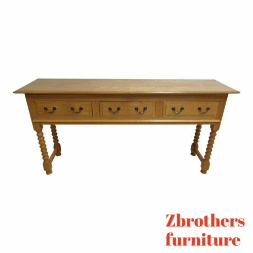 Custom English Oak Carved Barley Twist Console Sofa Table Sideboard