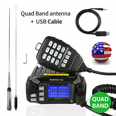 Radioddity QB25 Pro Quad Band 25W Car Mobile Radio Transceiver + Long Antenna