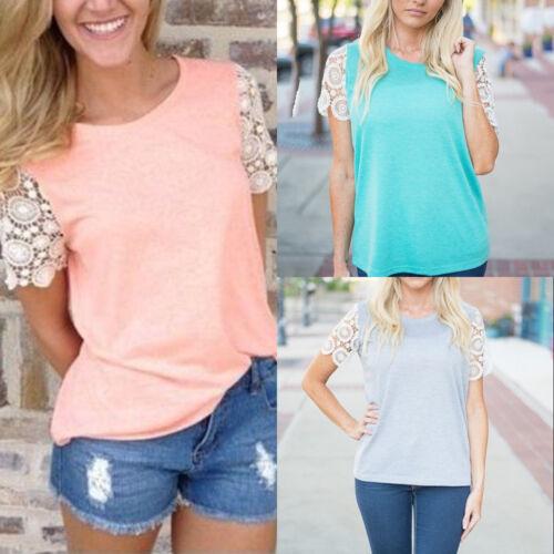 701e210d1ba0 Damen Spitze T-shirt Shirts Oberteile Kurzarm Tops Sommer Hemd Bluse  GR.32-38