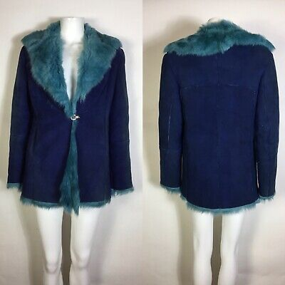 Rare Vtg Versace Jeans Couture Blue Suede Fur Leather Jacket XS