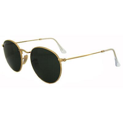 Ray-Ban Sunglasses Round Metal 3447 001 Gold Green Medium 50mm