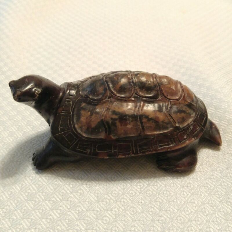 """Vintage Hand Carved Stone Turtle Marbled Browns 4"""" Long"""