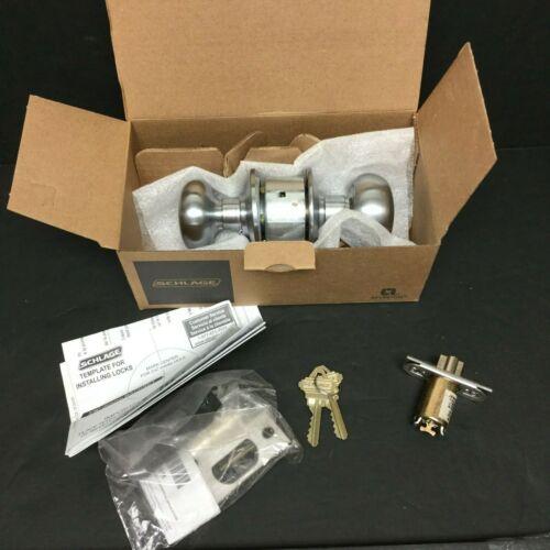 Schlage Lock A80PD PLY 626 RH Plymouth Storeroom Lock Door Knob Set Satin Chrome