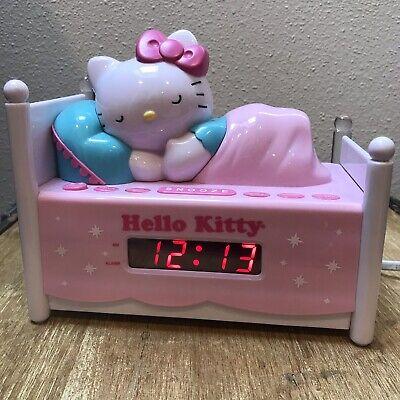 HELLO KITTY DIGITAL ALARM CLOCK NIGHT LIGHT RADIO SLEEPING BED