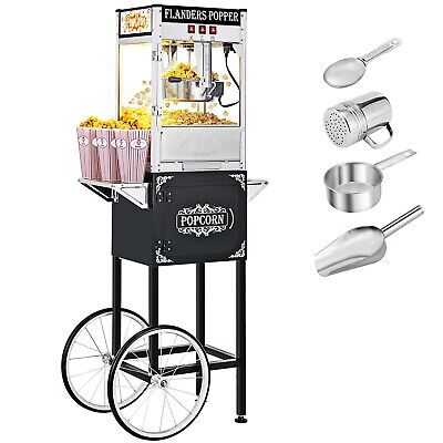 8oz Black Popcorn Maker Machine Cart By Zokop - New 8 Oz Capacity Theater Popper